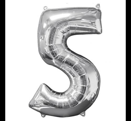 Zilveren Folie ballon Cijfer 5