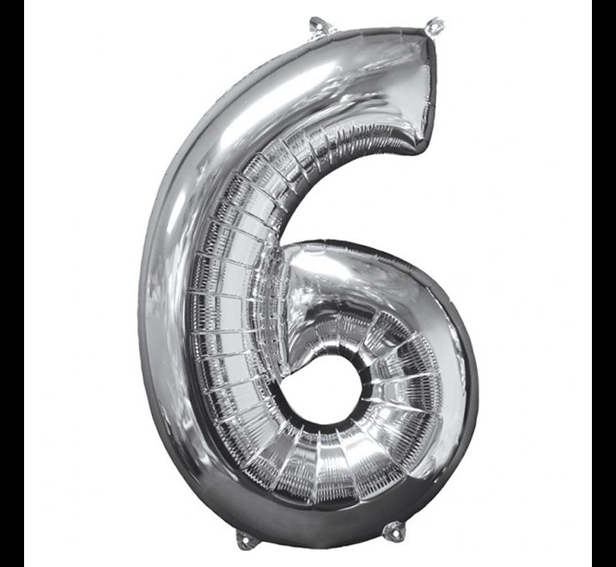 Zilveren Folie ballon Cijfer 6
