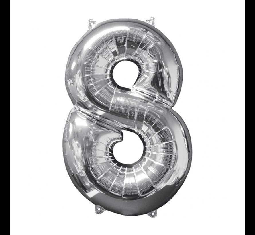 Zilveren Folie ballon Cijfer 8
