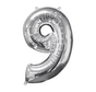 Zilveren Folie ballon Cijfer 9