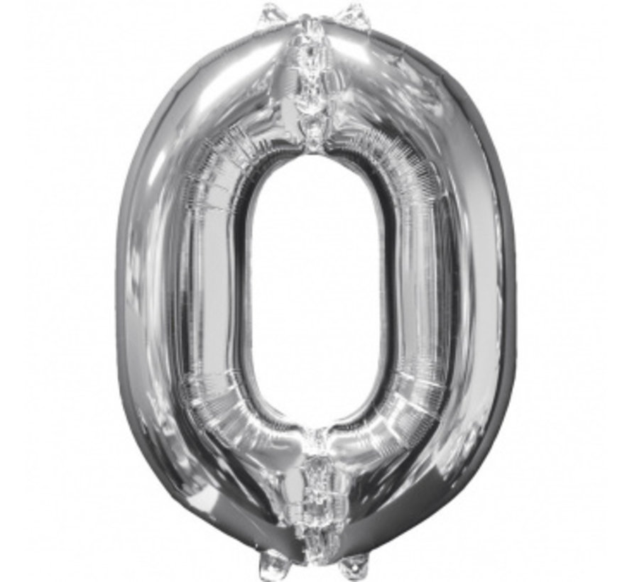 Zilveren Folie ballon Cijfer 0