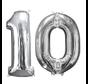 Zilveren folie ballon cijfer 10