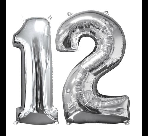 Zilveren folie ballon cijfer 12