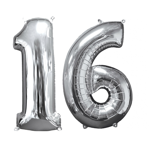 Zilveren folie ballon cijfer 16