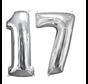 Zilveren folie ballon cijfer 17