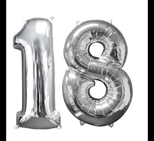 Zilveren folie ballon cijfer 18