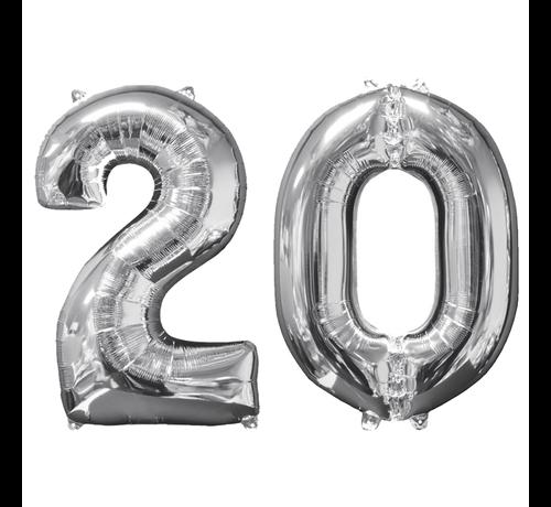 Zilveren folie ballon cijfer 20