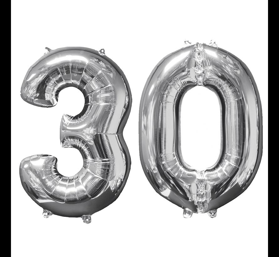Zilveren folie ballon cijfer 30