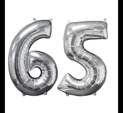 Zilveren folie ballon cijfer 65