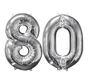 Zilveren folie ballon cijfer 80