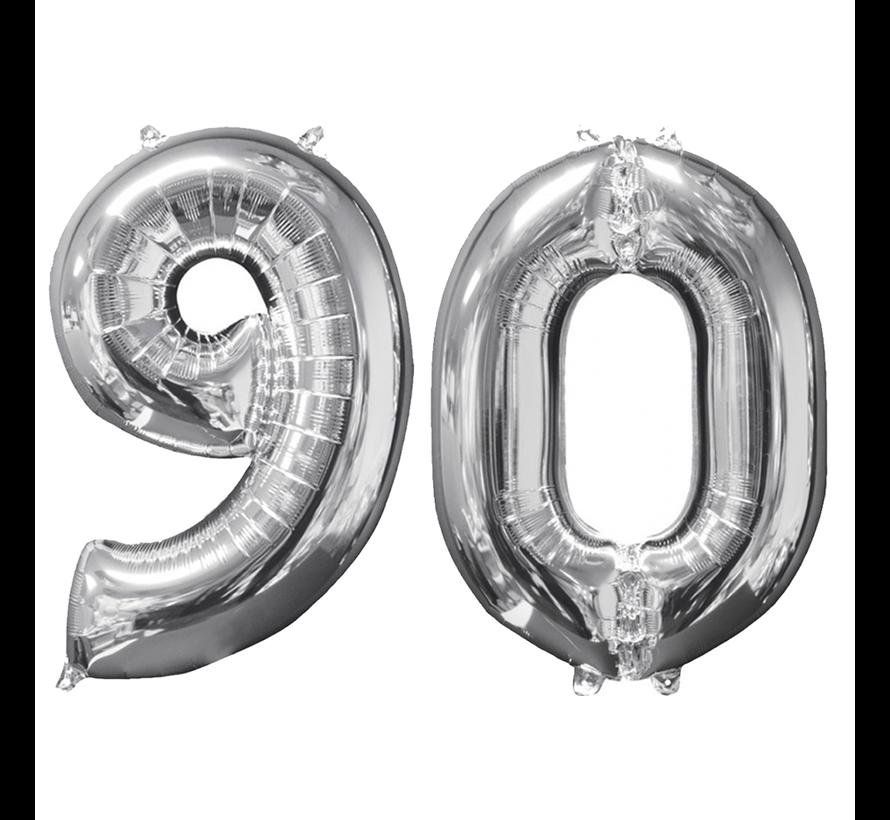 Zilveren folie ballon cijfer 90