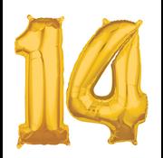 Cijfer ballonnen goud 14