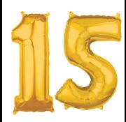 Cijfer ballonnen goud 15