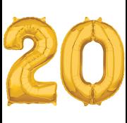 Cijfer ballonnen goud 20