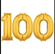 Cijfer ballonnen goud 100