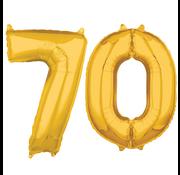 Cijfer ballonnen goud 70