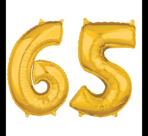 Helium cijfer ballonnen goud 65