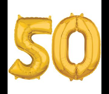 Cijfer ballonnen goud 50