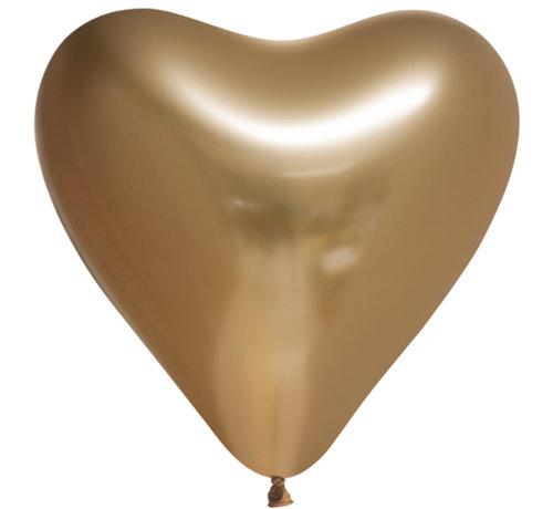 10 Chrome harten ballonnen  goud-kleurig