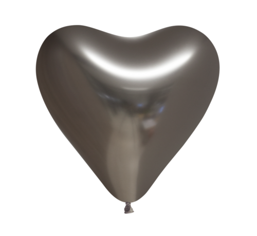 10 Chrome antracietgrijs harten ballonnen