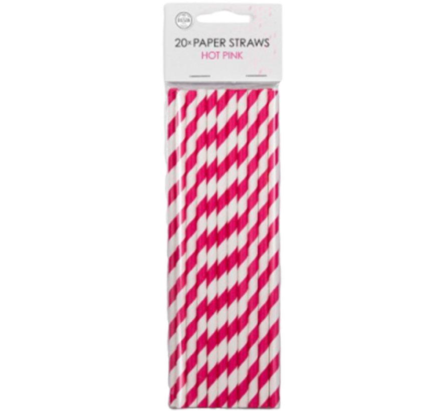 Papieren pink roze-rietjes