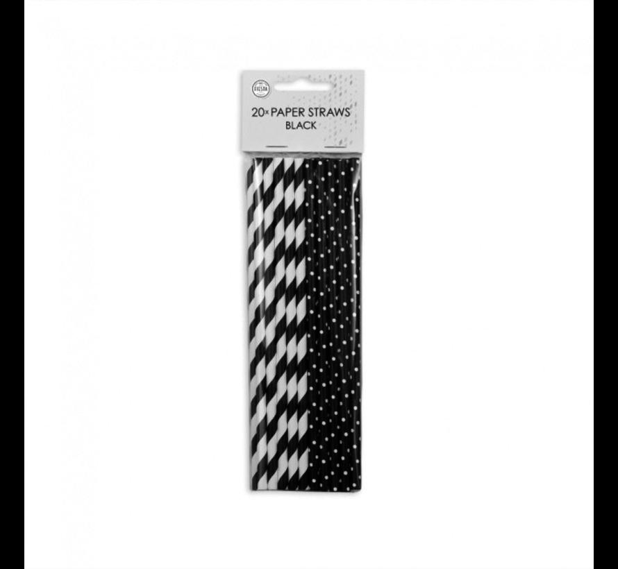 Papieren zwart witte rietjes