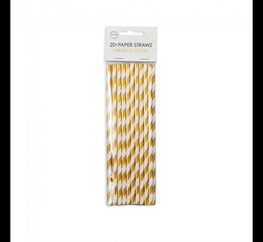 Papieren rietjes goud wit gestreept