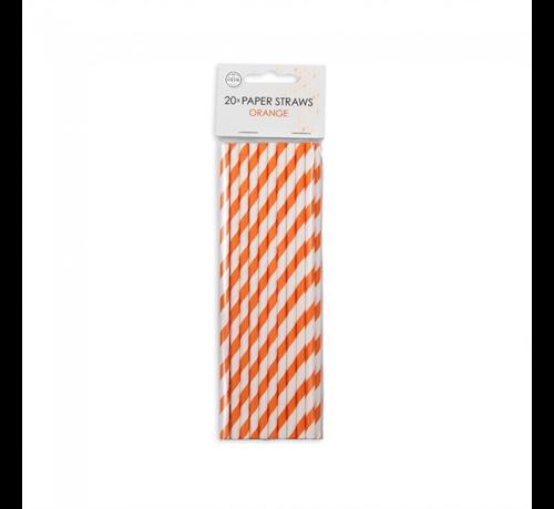 Papieren rietjes oranje wit gestreept