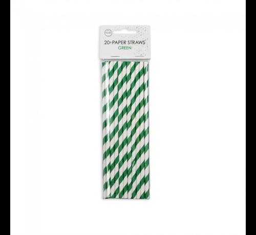 Papieren rietjes groen wit gestreept
