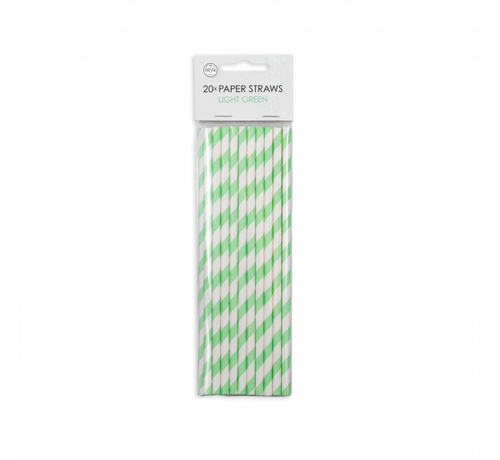 Papieren rietjes  lime groen  wit gestreept