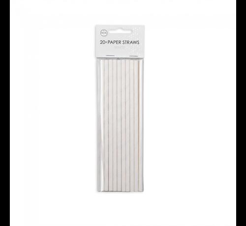 Witte rietjes van papier