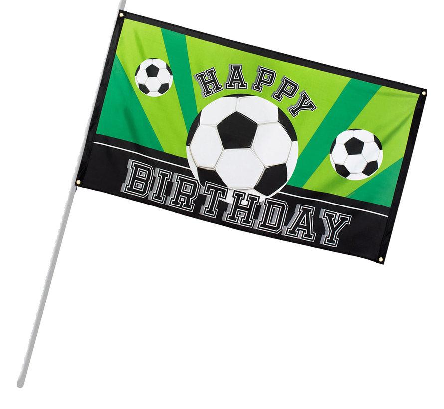 Polyester Spandoek Happy Birthday Voetbal vlag - Partycorner.nl