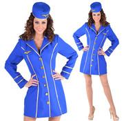 Stewardess kostuum de luxe blauw