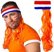 Hoofdband Nederland met oranje haar