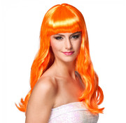 Oranje pruik lang