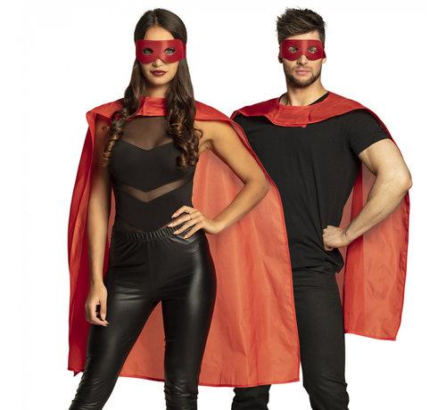 Mantel plus masker rood
