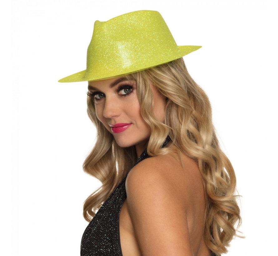 Disco glitter hoedje geel