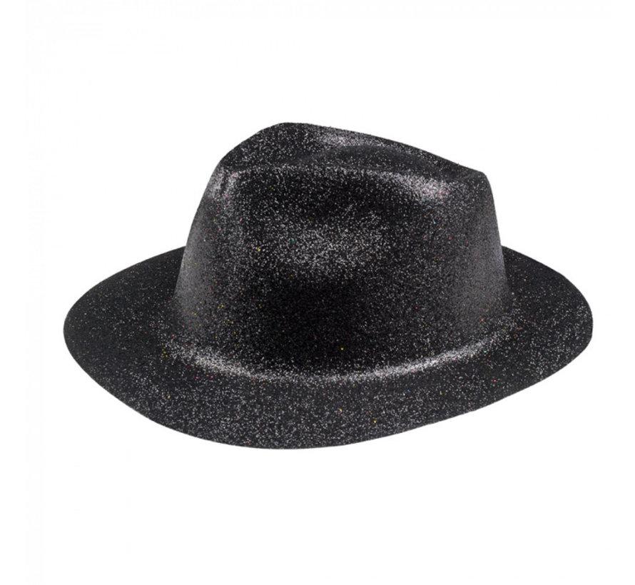 Disco glitter hoedje zwart