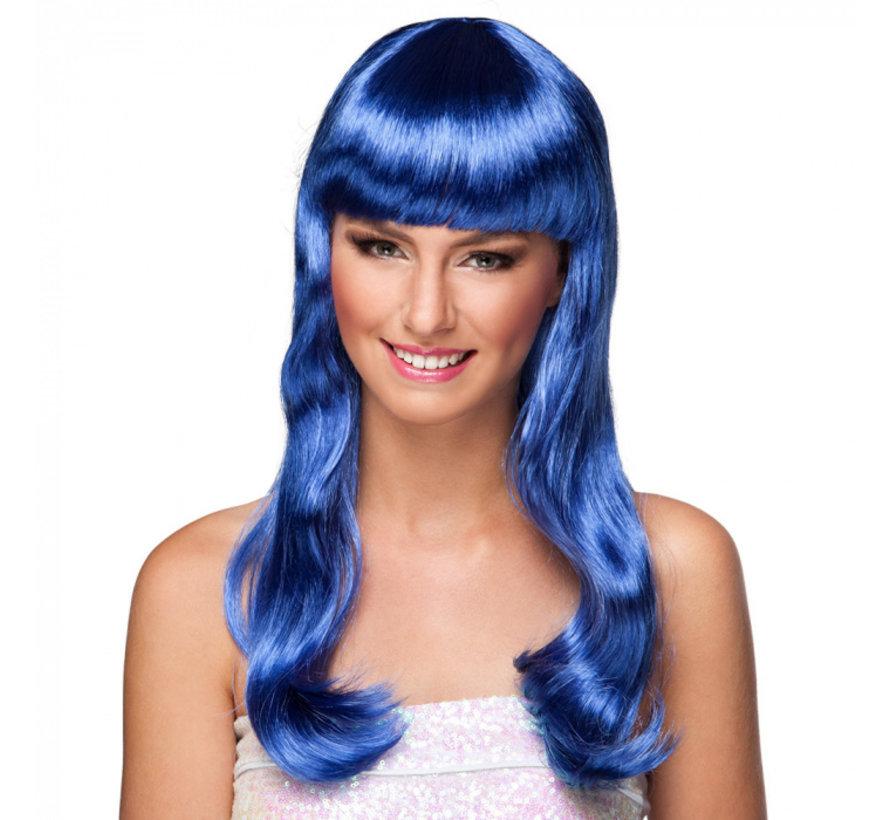 Blauwe pruik lang