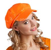 Oranje glitter dames hoed
