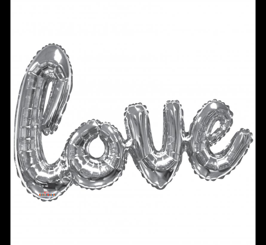 Letter folie love ballon zilverkleurig