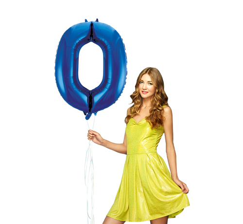 Blauwe folie ballon cijfer 0