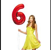 Rode cijfer ballon 6