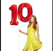 Rode cijfer ballonnen 10