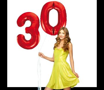 Rode cijfer ballonnen 30