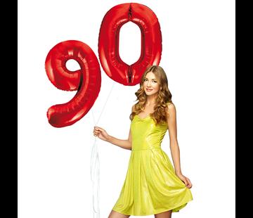 Rode cijfer ballonnen 90