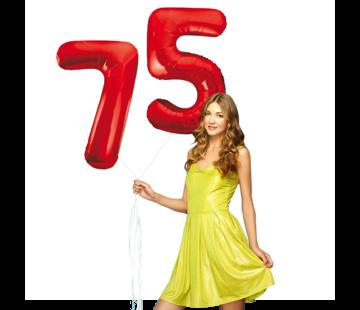 Rode cijfer ballonnen 75