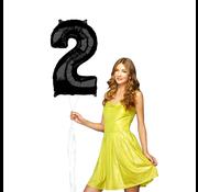 Zwarte cijfer 2 ballon