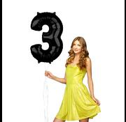 Zwarte cijfer 3 ballon