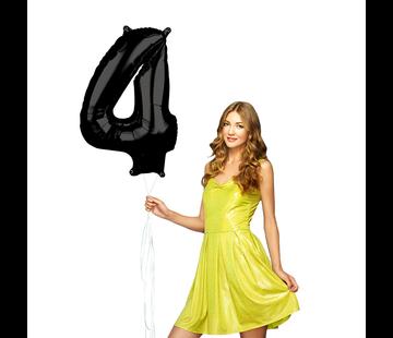 Zwarte cijfer 4 ballon
